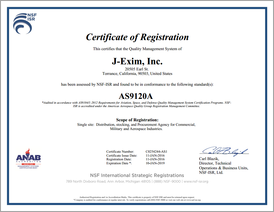 J-EXIM Inc is AS9120A Certified